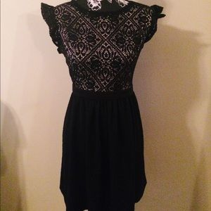 Little Black Dress with Lace Bodice
